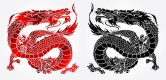 Majestatyczny Azjatycki smoka czerń, czerwień i Zdjęcie Stock