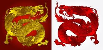 Majestatyczny Azjatycki smoka złoto, czerwień i Fotografia Royalty Free