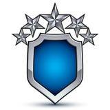 Majestatyczny błękitny wektorowy emblemat z pięć srebnymi dekoracyjnymi gwiazdami Zdjęcia Stock