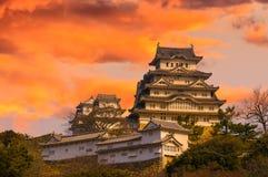Majestatyczny kasztel Himeji w Japonia. Zdjęcie Royalty Free