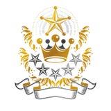 Majestatyczny korona emblemat Heraldyczny ?akiet r?ka dekoracyjny logo odizolowywa? wektorow? ilustracj? royalty ilustracja