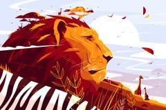 Majestatyczny lew na safari ilustracja wektor