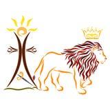 Majestatyczny lew z koroną, krzyż z słońcem i kordzika ove, ilustracja wektor