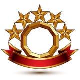 Majestatyczny złoty pierścionek odizolowywający na białym tle, 3d polityk Obraz Royalty Free