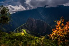 Majestic aerial view on the Machu Picchu / Huayna Picchu mountain royalty free stock image