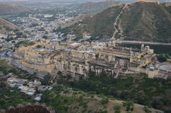 Majestic Amer fort in rajasthan, picture taken from terrace of other adjoining Jaigarh fort Stock Photo