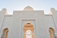 Majestic Arch Dome Entrance of Sheikh Zayed Grand Mosque stock photos