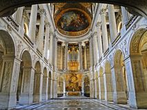 The royal chapel in Versailles Palace, France stock photography