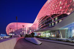 This is a majestic architectural masterpiece. By any standards. The grid shell of the Yas Hotel has become an iconic symbol of Abu Dhabi royalty free stock photo