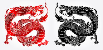 Majestic Asian dragon black and red. Majestic Asian chinese dragon black and red version on white background Stock Photo