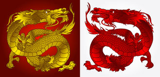 Majestic Asian dragon gold and red. Majestic Asian dragon gold on red and red on white version Royalty Free Stock Photography