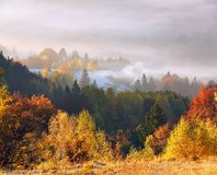 Majestic autumn rural scenery. Landscape with beautiful mountains, fields and forests covered with morning fog. Touristic place. stock photography