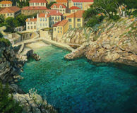 Majestic Beauty. An oil painting on canvas of a small peaceful sea cove, near by the old city of Dubrovnik in Croatia with crystal clear emerald waters Royalty Free Stock Photos