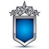 Majestic blue vector emblem with five silver decorative pentagon Royalty Free Stock Photography
