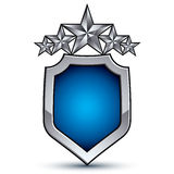 Majestic blue vector emblem with five silver decorative pentagon Stock Photo