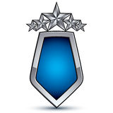 Majestic blue vector emblem with five silver decorative pentagon Stock Photography