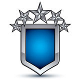 Majestic blue vector emblem with five silver decorative stars Stock Images