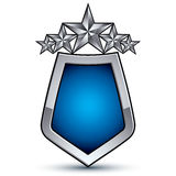 Majestic blue vector emblem with five silver stars Stock Photography