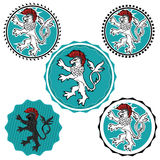 Majestic brave historical lion stamp illustration. Majestic brave historical lion warrior stamp illustration Stock Photos