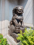 Majestic bronze lion statue. Majestic bronze lion statue in front of the gate of Chinese temple,Bangkok stock image