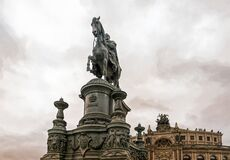 Majestic bronze monument to King Johannes of Saxony at Theaterplatz in Dresden, Germany