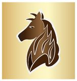 Majestic brown horse on gold background. Vector illustration Stock Photography