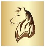 Majestic horse portrait on gold background. Majestic brown horse on gold background, vector illustration Stock Photography