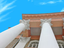 Majestic building 4. Architectural element of a building in antique style on a background of the clear blue sky. Very light, vital photo Stock Images