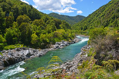 The majestic Buller River Enters the West Coast Buller Gorge. Landscape view of the majestic Buller River entering the Buller Gorge below Murchison. Famous for Stock Images