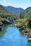 The majestic Buller River Enters the West Coast Buller Gorge. stock photos