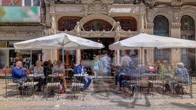 Majestic cafe facade in Porto Portugal timelapse stock video footage