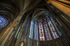 Majestic Carcassone cathedral interiors. Sun light. Royalty Free Stock Images