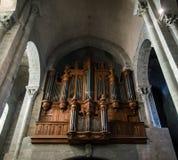 Majestic Carcassone cathedral interiors. Sun light. Stock Photo