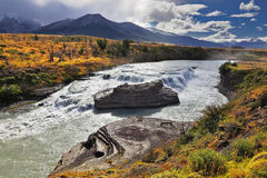 The majestic Cascades Paine. The majestic cascading waterfall - Cascades Paine. National Park Torres del Paine in southern Chile, Patagonia Royalty Free Stock Images