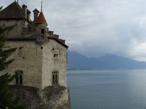 Castle on the lake of montreux stock images