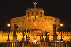 Majestic Castle of Saint  Angel over the Tiber river by night in Rome, Italy Royalty Free Stock Photography