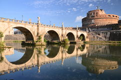 Majestic Castle of Saint  Angel over the Tiber river in Rome, Italy Stock Photos