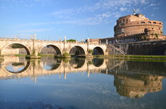Majestic Castle of Saint  Angel over the Tiber river in Rome, Italy Royalty Free Stock Photo