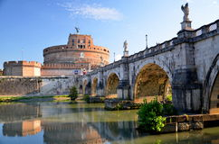 Majestic Castle of Saint  Angel over the Tiber river in Rome, Italy Stock Photo