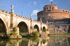Majestic Castle of Saint  Angel over the Tiber river in Rome, Italy Royalty Free Stock Images