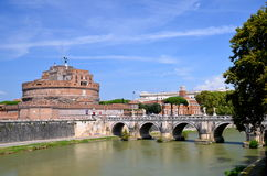 Majestic Castle of Saint  Angel over the Tiber river in Rome, Italy Royalty Free Stock Photography