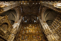 Majestic cathedral interiors. With gold decoration details, Spain, Toledo Royalty Free Stock Image
