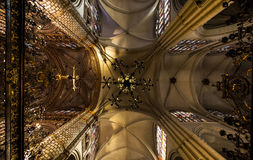 Majestic cathedral interiors. With gold decoration details, Spain, Toledo Stock Photography