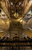 Majestic cathedral interiors. With gold decoration details, Spain, Toledo Stock Photos