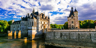 Majestic Chenonceau castle over sunset, Beautiful l castles of Loi Stock Image