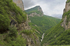 Majestic Cherek gorge - attraction of Kabardino-Balkaria.The North Caucasus. Stock Photo