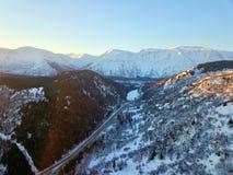 Majestic Chugach mountains. Beautiful mountain range on Alaska`s Kenai peninsula during the winter royalty free stock photography
