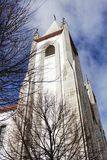 Majestic church facade under blue sky Stock Images