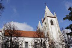 Majestic church facade under blue sky Royalty Free Stock Images