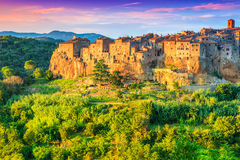 The majestic city on the rock,Pitigliano,Tuscany,Italy,Europe. Medieval town of Pitigliano on the cliff at sunset,Tuscany,Italy,Europe Stock Image